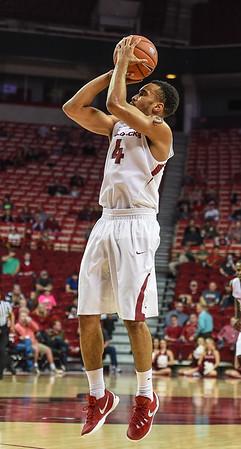 Jabril Durham (4) shoots during a basketball game between Arkansas and Delta State on November 10, 2015.    (Alan Jamison, Nate Allen Sports Service)