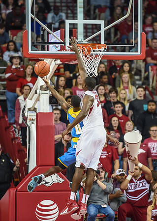 Arkansas Razorbacks forward Moses Kingsley (33) defends during a basketball game between Arkansas and Southern University on November 13, 2015.    (Alan Jamison, Nate Allen Sports Service)