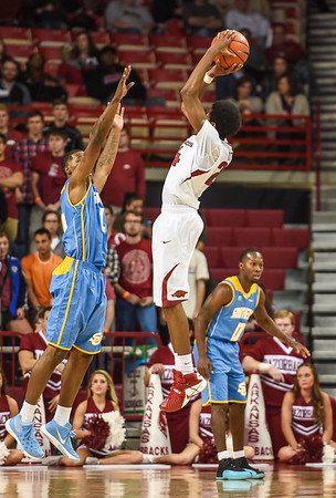 Arkansas Razorbacks guard Jimmy Whitt (24) with a shot during a basketball game between Arkansas and Southern University on November 13, 2015.    (Alan Jamison, Nate Allen Sports Service)