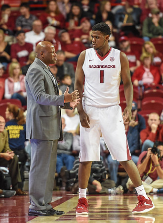 Arkansas Razorbacks forward Trey Thompson (1) receives instruction from Arkansas Head Coach Mike Anderson during a basketball game between Arkansas and Southern University on November 13, 2015.    (Alan Jamison, Nate Allen Sports Service)