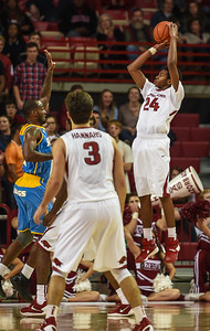 Arkansas Razorbacks guard Jimmy Whitt (24) shoots during a basketball game between Arkansas and Southern University on November 13, 2015.    (Alan Jamison, Nate Allen Sports Service)