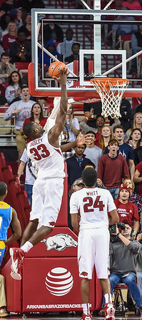Arkansas Razorbacks forward Moses Kingsley (33) with a shot during a basketball game between Arkansas and Southern University on November 13, 2015.    (Alan Jamison, Nate Allen Sports Service)
