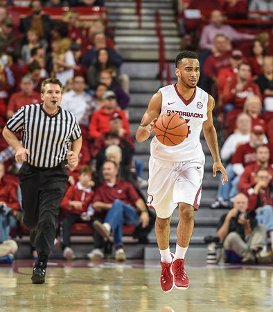 Arkansas Razorbacks guard Jabril Durham (4) at point during a basketball game between Arkansas and Southern University on November 13, 2015.    (Alan Jamison, Nate Allen Sports Service)