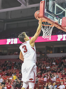 Arkansas Razorbacks guard Dusty Hannahs (3) with a layup during a basketball game between Arkansas and Akron on November 18, 2015.    (Alan Jamison, Nate Allen Sports Service)