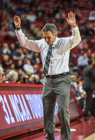 Akron head coach Keith Dambrot expresses his opinion of a call during a basketball game between Arkansas and Akron on November 18, 2015.    (Alan Jamison, Nate Allen Sports Service)