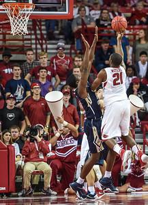 Arkansas Razorbacks guard Manuale Watkins (21) shoots during a basketball game between Arkansas and Charleston Southern on November 20, 2015.    (Alan Jamison, Nate Allen Sports Service)