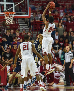 Arkansas Razorbacks guard Jimmy Whitt (24) shoots during a basketball game between Arkansas and Charleston Southern on November 20, 2015.    (Alan Jamison, Nate Allen Sports Service)