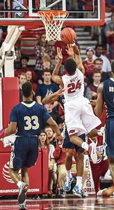 Arkansas Razorbacks guard Jimmy Whitt (24) shoots during a basketball game between Arkansas and Charleston Southern on November 20, 2015.    (Alan Jamison, Nate Allen Sports Service)