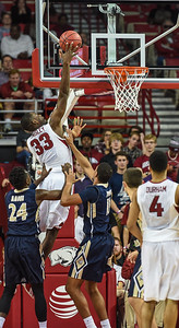 Arkansas Razorbacks forward Moses Kingsley (33) with a shot during a basketball game between Arkansas and Charleston Southern on November 20, 2015.    (Alan Jamison, Nate Allen Sports Service)