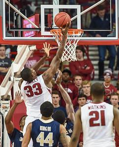 Arkansas Razorbacks forward Moses Kingsley (33) with a shot during a basketball game between Arkansas and Charleston Southern on November 20, 2015.    (Alan Jamison, Nate Allen Sports Service)