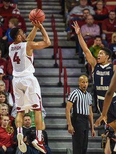 Arkansas Razorbacks guard Jabril Durham (4) shoots during a basketball game between Arkansas and Charleston Southern on November 20, 2015.    (Alan Jamison, Nate Allen Sports Service)