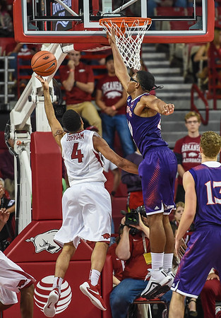 Arkansas Razorbacks guard Jabril Durham (4) with a layup during a basketball game between Arkansas and Northwestern State on December 1, 2015.    (Alan Jamison, Nate Allen Sports Service)