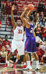 Arkansas Razorbacks forward Moses Kingsley (33) on defense during a basketball game between Arkansas and Northwestern State on December 1, 2015.    (Alan Jamison, Nate Allen Sports Service)
