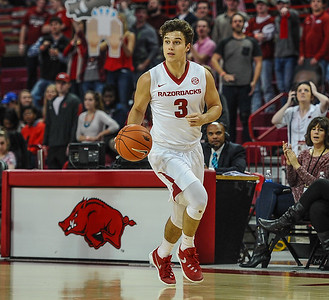 Arkansas Razorbacks guard Dusty Hannahs (3) at point during a basketball game between Arkansas and Northwestern State on December 1, 2015.    (Alan Jamison, Nate Allen Sports Service)