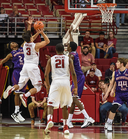 Arkansas Razorbacks guard Dusty Hannahs (3) with a shot during a basketball game between Arkansas and Northwestern State on December 1, 2015.    (Alan Jamison, Nate Allen Sports Service)