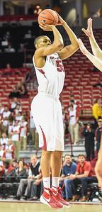 Arkansas Razorbacks forward Keaton Miles (55) shoots during a basketball game between Arkansas and Evansville on December 8, 2015.    (Alan Jamison, Nate Allen Sports Service)