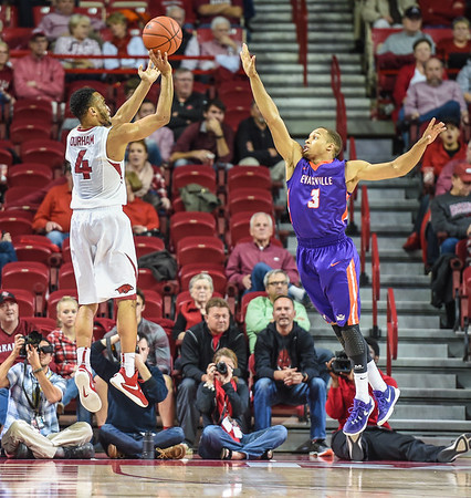 Arkansas Razorbacks guard Jabril Durham (4) shoots  during a basketball game between Arkansas and Evansville on December 8, 2015.    (Alan Jamison, Nate Allen Sports Service)