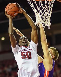 Arkansas Razorbacks center Willy Kouassi (50) shoots during a basketball game between Arkansas and Evansville on December 8, 2015.    (Alan Jamison, Nate Allen Sports Service)