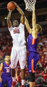 Arkansas Razorbacks center Willy Kouassi (50) shoots during a basketball game between Arkansas and Evansville on December 8, 2015.    (Alan Jamison, Nate Allen Sports Service)