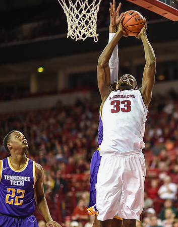 Arkansas Razorbacks forward Moses Kingsley (33) with a shot during a basketball game between Arkansas and Tennessee Tech on December 12, 2015.    (Alan Jamison, Nate Allen Sports Service)