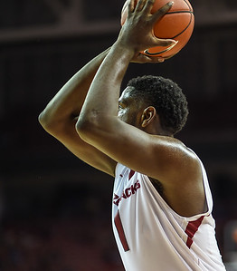 Arkansas Razorbacks forward Trey Thompson (1) passes inside during a basketball game between Arkansas and Tennessee Tech on December 12, 2015.    (Alan Jamison, Nate Allen Sports Service)