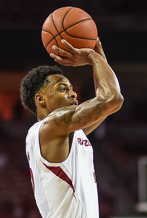Arkansas Razorbacks guard Anthlon Bell (5) with a shot during a basketball game between Arkansas and Tennessee Tech on December 12, 2015.    (Alan Jamison, Nate Allen Sports Service)