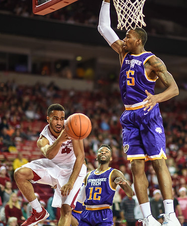 Arkansas Razorbacks guard Jabril Durham (4) with an assist during a basketball game between Arkansas and Tennessee Tech on December 12, 2015.    (Alan Jamison, Nate Allen Sports Service)