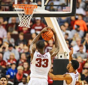 Arkansas Razorbacks forward Moses Kingsley (33) with a rebound during a basketball game between Arkansas and Mercer on December 19, 2015.    (Alan Jamison, Nate Allen Sports Service)