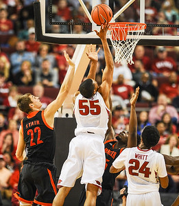 Arkansas Razorbacks forward Keaton Miles (55) with a shot during a basketball game between Arkansas and Mercer on December 19, 2015.    (Alan Jamison, Nate Allen Sports Service)