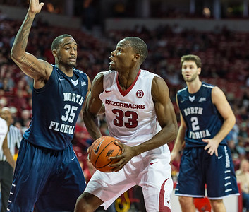 Arkansas Razorbacks forward Moses Kingsley (33) looks to shoot during a basketball game between Arkansas and North Florida on December 22, 2015.    (Alan Jamison, Nate Allen Sports Service)