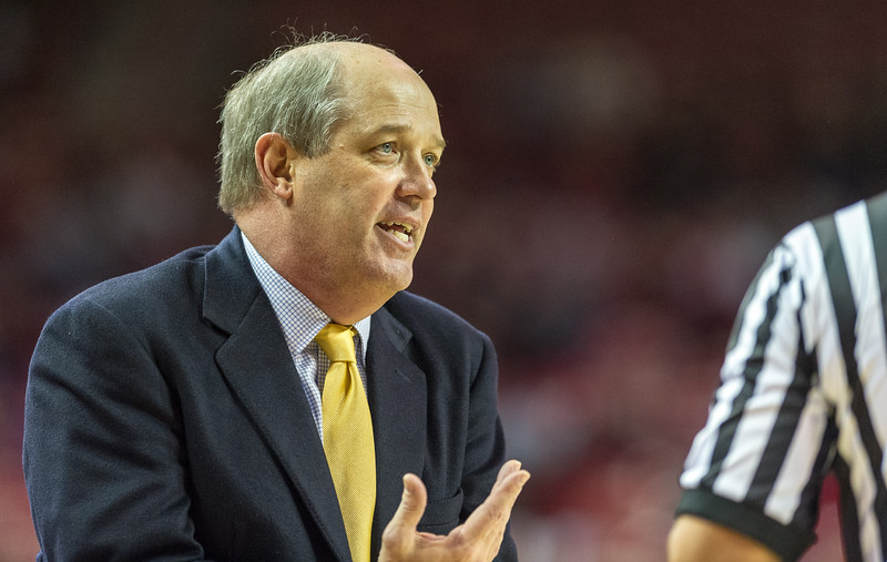 Vanderbilt Commodores head coach Kevin Stallings pleas with the referee during a basketball game between Arkansas and Vanderbilt on January 5, 2016.    (Alan Jamison, Nate Allen Sports Service)