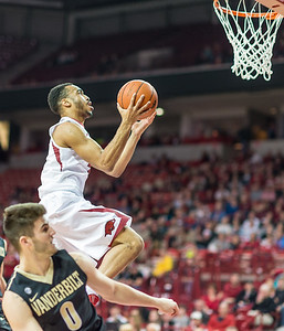 Arkansas Razorbacks guard Jabril Durham (4) drives to the basket during a basketball game between Arkansas and Vanderbilt on January 5, 2016.    (Alan Jamison, Nate Allen Sports Service)
