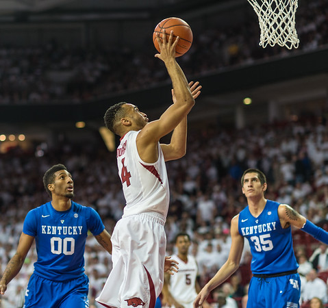 Arkansas Razorbacks guard Jabril Durham (4) shoots during a basketball game between Arkansas Razorbacks and Kentucky Wildcats on January 21, 2016.    (Alan Jamison, Nate Allen Sports Service)