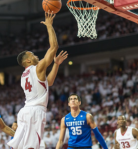 Arkansas Razorbacks guard Jabril Durham (4) shoots a layup during a basketball game between Arkansas Razorbacks and Kentucky Wildcats on January 21, 2016.    (Alan Jamison, Nate Allen Sports Service)