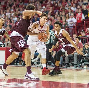 Arkansas Razorbacks guard Dusty Hannahs (3) drives during a basketball game between Arkansas Razorbacks and Texas A&M Aggies  on January 27, 2016.    (Alan Jamison, Nate Allen Sports Service)
