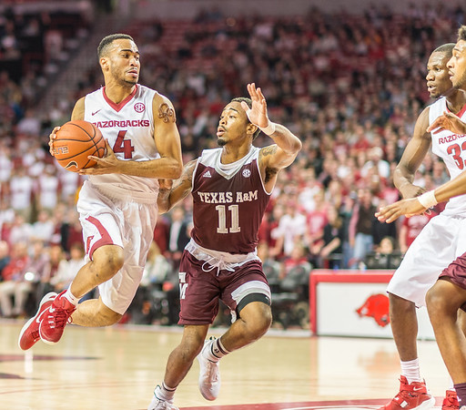 Arkansas Razorbacks guard Jabril Durham (4) drives to the basket during a basketball game between Arkansas Razorbacks and Texas A&M Aggies  on January 27, 2016.    (Alan Jamison, Nate Allen Sports Service)