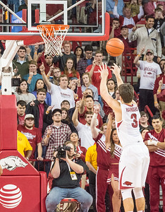 Arkansas Razorbacks guard Dusty Hannahs (3) ices another free throw at the end of a basketball game between Arkansas Razorbacks and Texas A&M Aggies  on January 27, 2016.    (Alan Jamison, Nate Allen Sports Service)