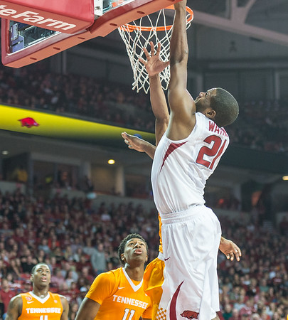Arkansas Razorbacks guard Manuale Watkins (21) with a layup during a basketball game between Arkansas Razorbacks and Tennessee Volunteers  on February 6, 2016.    (Alan Jamison, Nate Allen Sports Service)