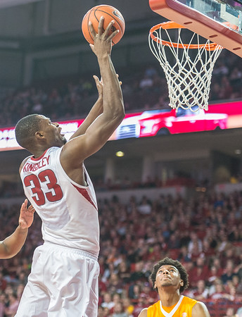 Arkansas Razorbacks forward Moses Kingsley (33) with a layup during a basketball game between Arkansas Razorbacks and Tennessee Volunteers  on February 6, 2016.    (Alan Jamison, Nate Allen Sports Service)