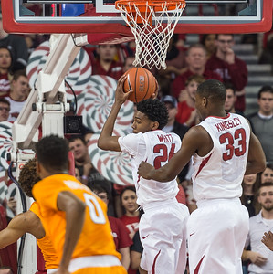 Arkansas Razorbacks guard Jimmy Whitt (24) with a rebound during a basketball game between Arkansas Razorbacks and Tennessee Volunteers  on February 6, 2016.    (Alan Jamison, Nate Allen Sports Service)