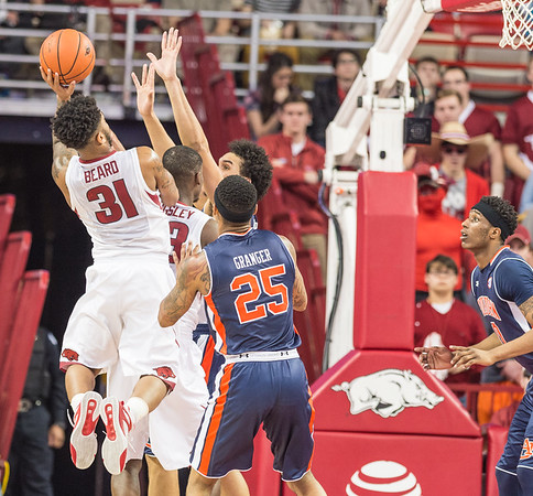 Arkansas Razorbacks guard Anton Beard (31) shoots a jumper during a basketball game between Arkansas and Auburn on 2-17-16.   (Alan Jamison, Nate Allen Sports Service)