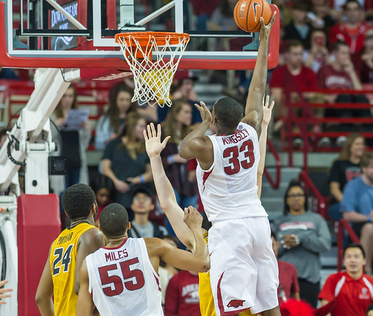 Arkansas Razorbacks forward Moses Kingsley (33) shoots during a basketball game between Arkansas and Missouri on 2-20-16.   (Alan Jamison, Nate Allen Sports Service)