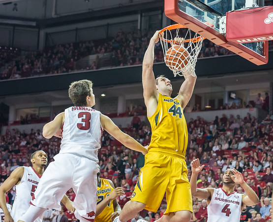 Missouri Tigers forward Ryan Rosburg (44) with a dunk during a basketball game between Arkansas and Missouri on 2-20-16.   (Alan Jamison, Nate Allen Sports Service)