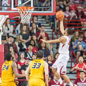 Arkansas Razorbacks guard Jabril Durham (4) shoots during a basketball game between Arkansas and Missouri on 2-20-16.   (Alan Jamison, Nate Allen Sports Service)