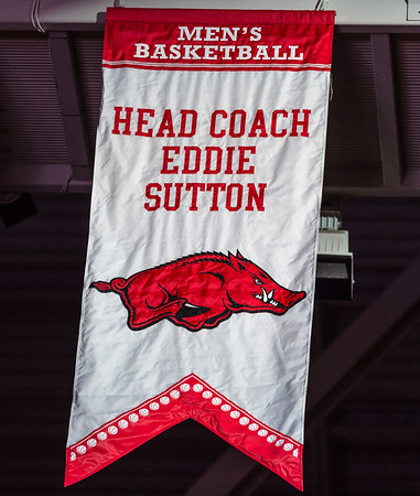 Former Arkansas head coach Eddie Sutton was honored at halftime with a banner in Bud Walton Arena during a basketball game between Arkansas and Missouri on 2-20-16.   (Alan Jamison, Nate Allen Sports Service)