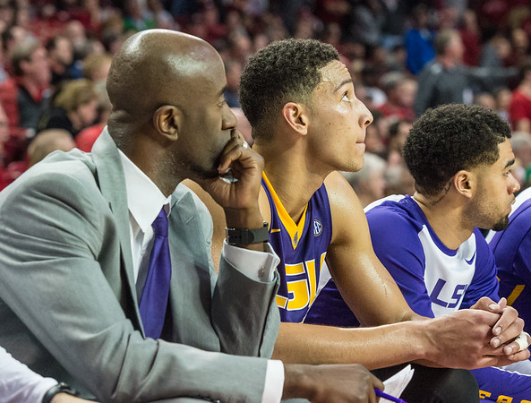 LSU Tigers forward Ben Simmons (25) sits on the bench after fouling out during a basketball game between Arkansas and LSU on 2-23-16.   (Alan Jamison, Nate Allen Sports Service)