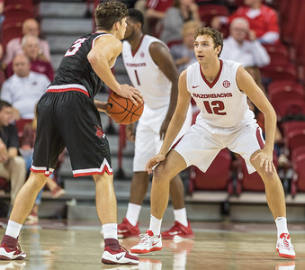 Arkansas Razorbacks forward Brachen Hazen (12) defends during a basketball game between Arkansas and Central Missouri on Friday, October 28, 2016.  (Alan Jamison, Nate Allen Sports Service)