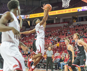 Arkansas Razorbacks guard Daryl Macon (4) lays up during a basketball game between Arkansas and Central Missouri on Friday, October 28, 2016.  (Alan Jamison, Nate Allen Sports Service)