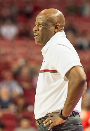 Arkansas Razorbacks head coach Mike Anderson reacts to a play during a basketball game between Arkansas and Central Missouri on Friday, October 28, 2016.  (Alan Jamison, Nate Allen Sports Service)