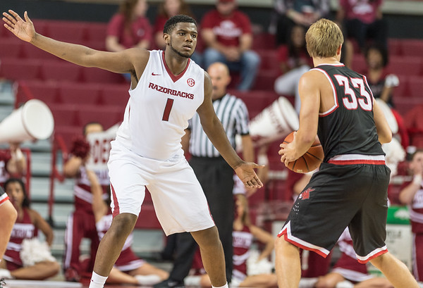 Arkansas Razorbacks forward Trey Thompson (1) defends during a basketball game between Arkansas and Central Missouri on Friday, October 28, 2016.  (Alan Jamison, Nate Allen Sports Service)